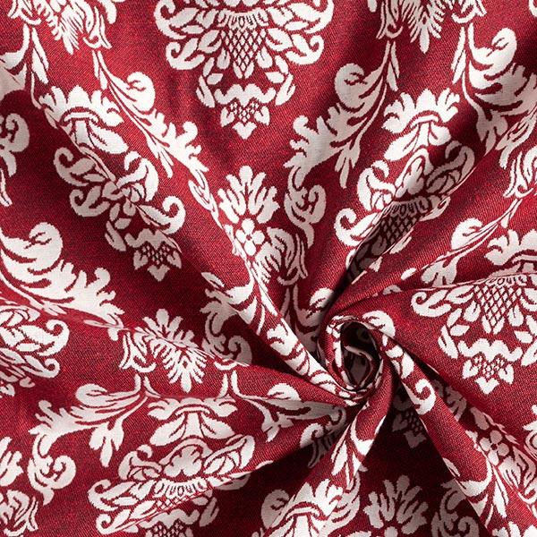 Tissu de décoration Jacquard Ornements – écru/carmin
