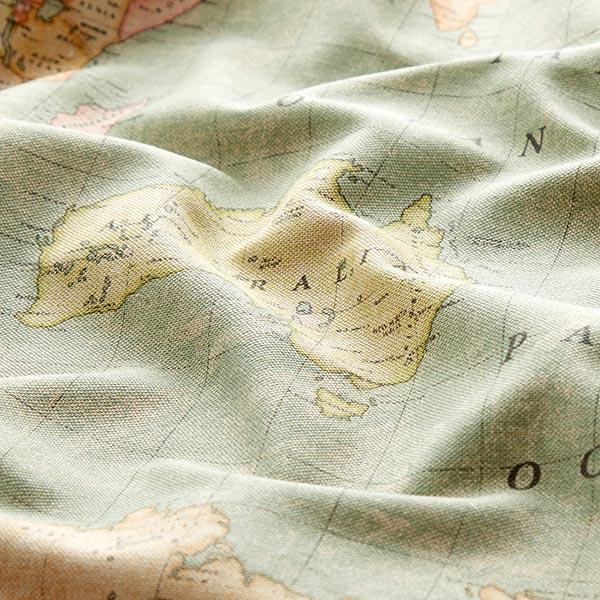 Tissu de décoration Semi-panama Travel The World – beige/vert