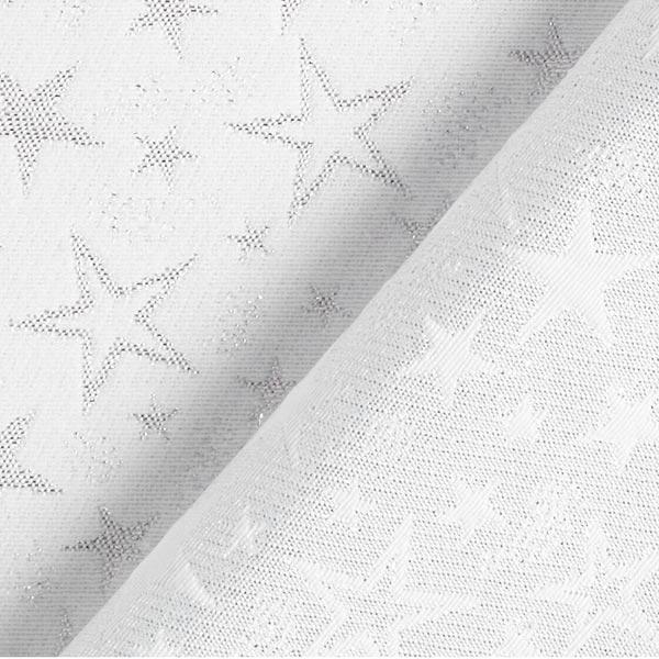 Tissu de décoration Jacquard Ciel étoilé étincelant – argent/blanc