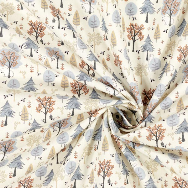 Tissu en coton Popeline Ourson en forêt – écru