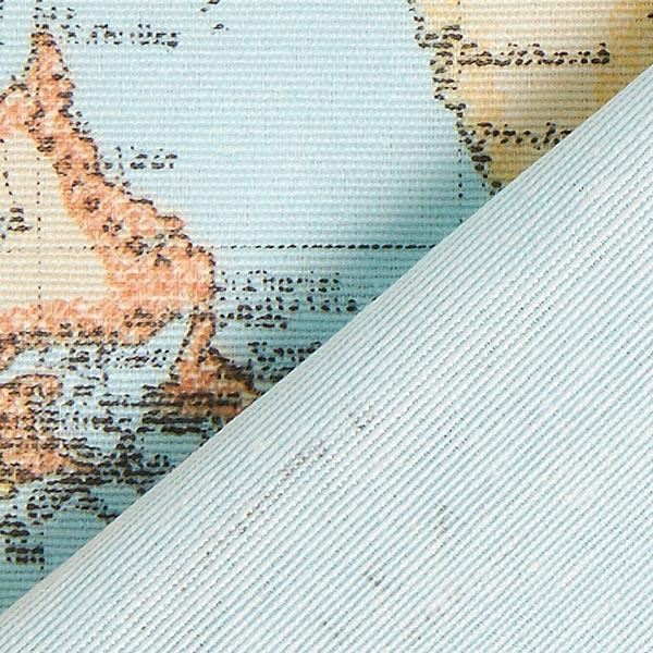 Dekostoff Ottoman Weltkarte – babyblau
