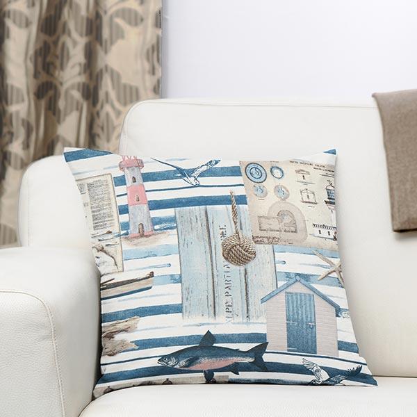 Tissu de décoration ottomane Maritime – blanc/bleu