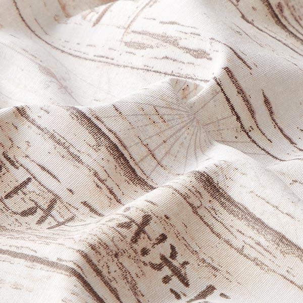 Tissu de décoration ottomane  Bois – beige/blanc