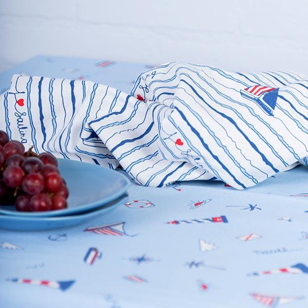 Tissu de décoration ottomane   Sailboat – blanc/bleu clair