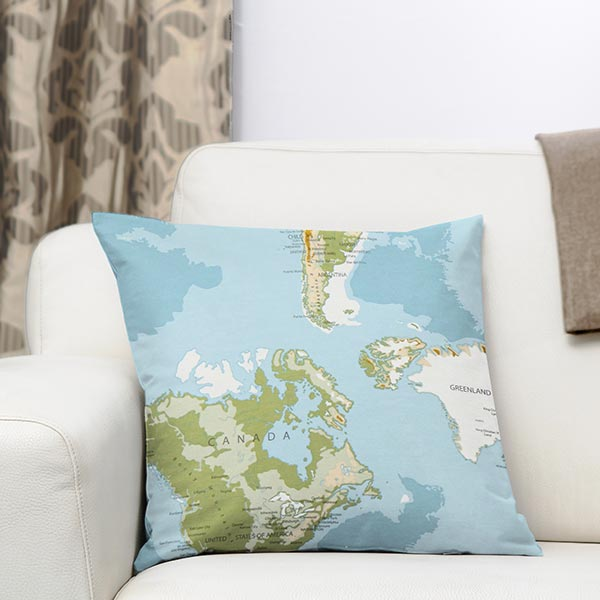 Tissu de décoration ottomane Carte du monde – bleu