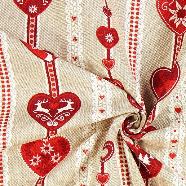 Tissu de décoration Semi-panama Cœurs folkloriques – nature