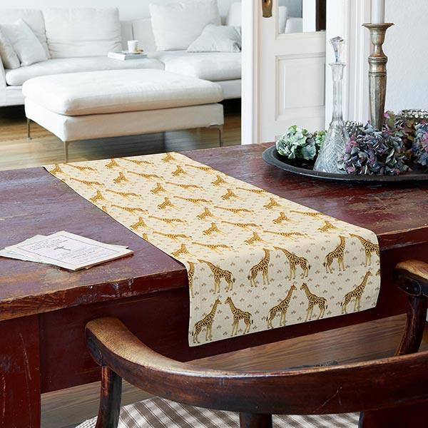 Tissu de décoration Semi-panama Girafes – nature