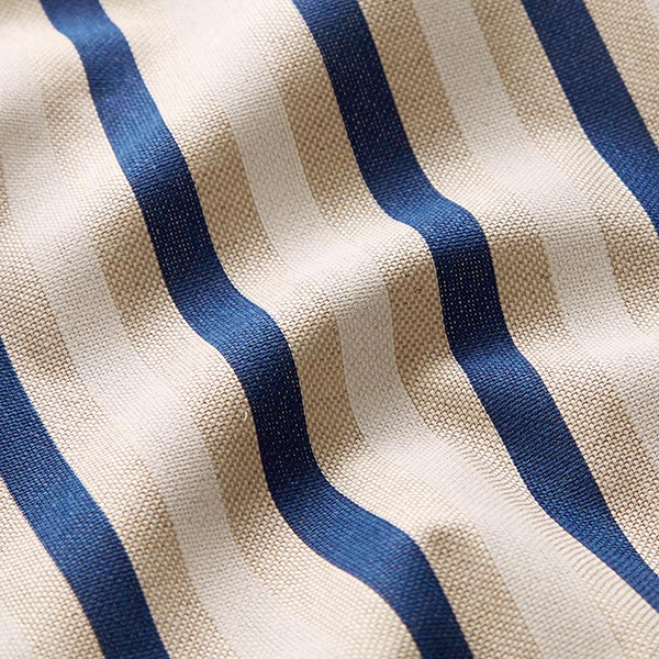 Tissu de décoration Semi-panama Rayures fines – bleu marine/nature