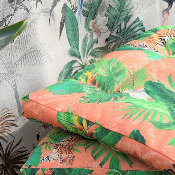 Tissu d'extérieur Animaux tropicaux – orange
