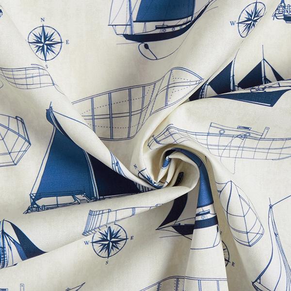 Tissu d'extérieur Ébauche bateaux – écru/bleu marine