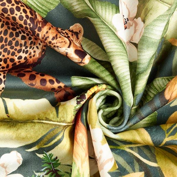 Möbelstoff Samt Digitaldruck Dschungel – grün