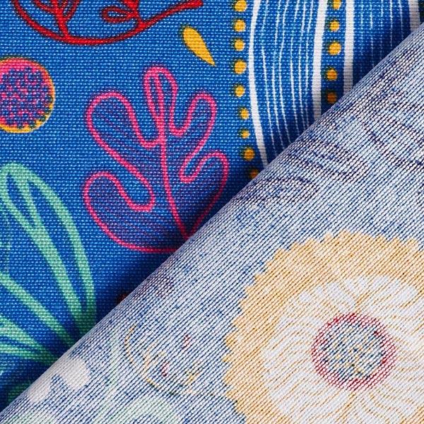 Tissu de décoration Canvas Fleurs rétros – bleu