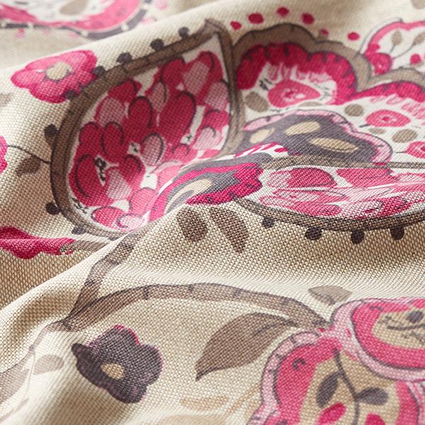 Tissu de décoration Semi-panama Floral – rose vif