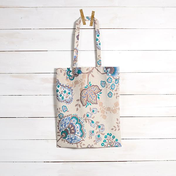 Tissu de décoration Semi-panama Floral – bleu