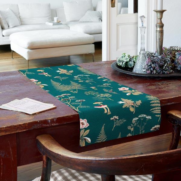 Tissu de décoration Canvas Plantes forestières – pétrole