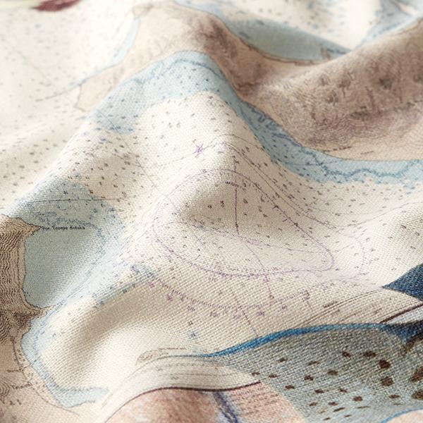 Tissu de décoration semi-panama Impression numérique Planisphère – nature