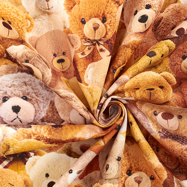 Tissu de décoration semi-panama Impression numérique Peluche – marron
