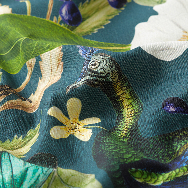 Dekostoff Halbpanama Digitaldruck Pfau – dunkelgrün
