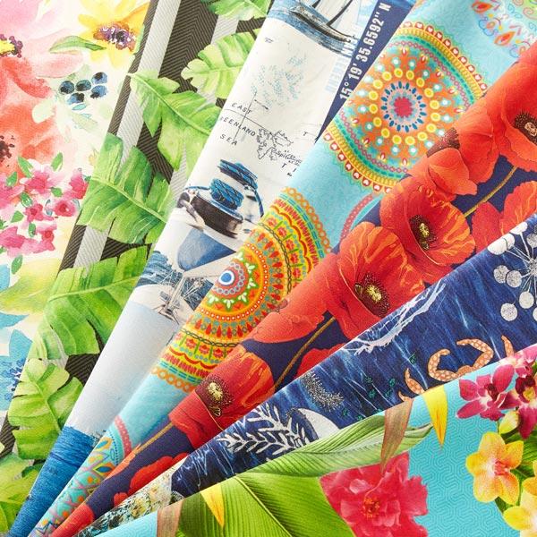 Tissu d'extérieur Fleurs exotiques – turquoise
