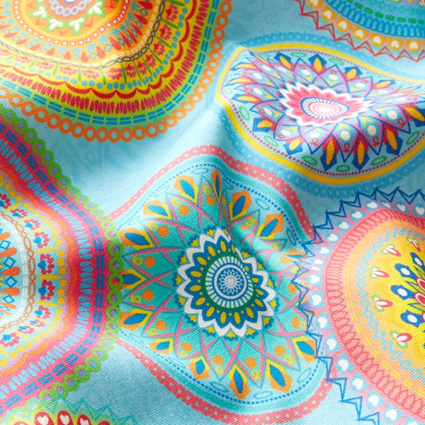 Tissu d'extérieur Mandalas – turquoise