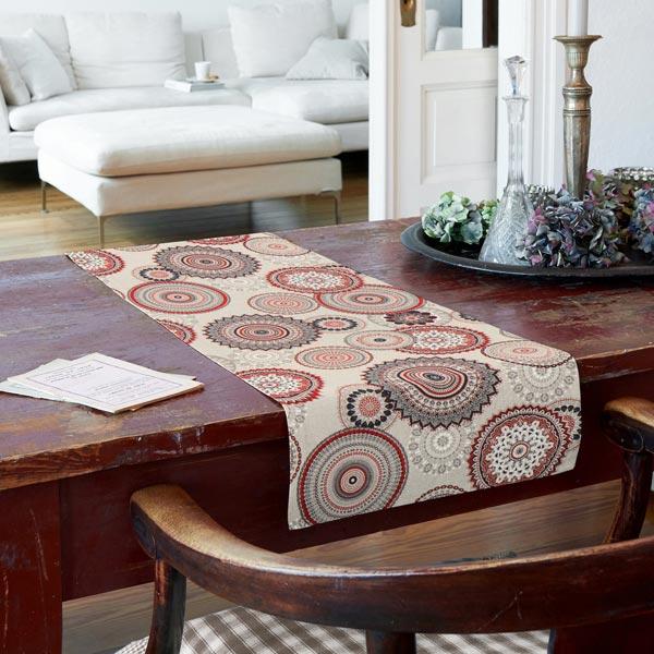 Tissu de décoration Semi-panama Mandala – rouge