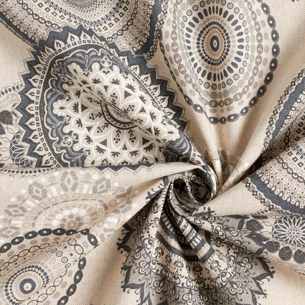 Tissu de décoration Semi-panama Mandala – gris