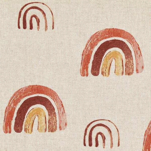 Tissu de décoration Semi-panama Arc-en-ciel – nature/rouge