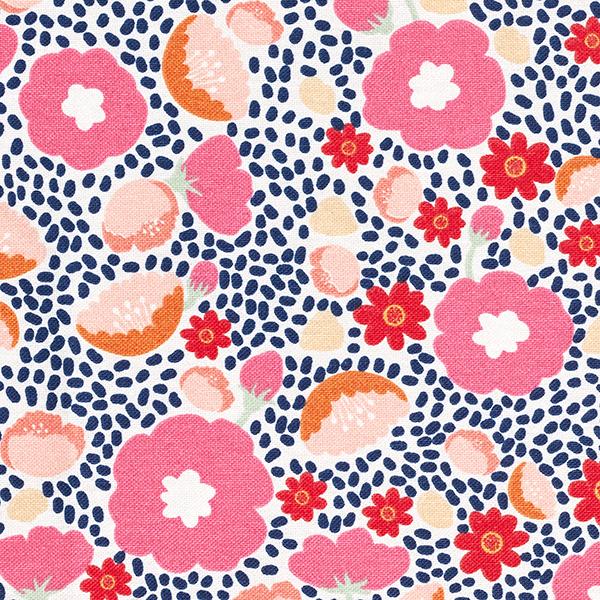 Tissu de décoration Canvas Confettis fleurs – rose vif