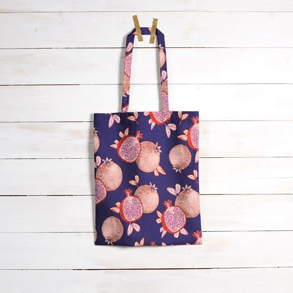 Dekostoff Canvas Granatapfel – marineblau