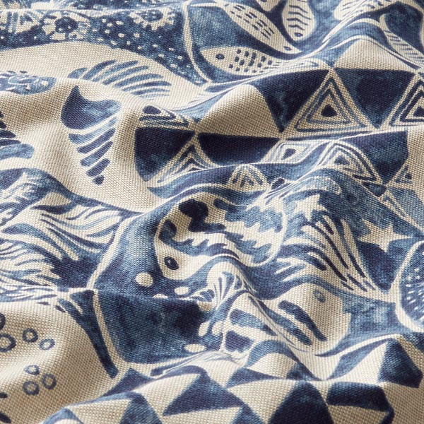 Dekostoff Halbpanama Maritim – blau/natur