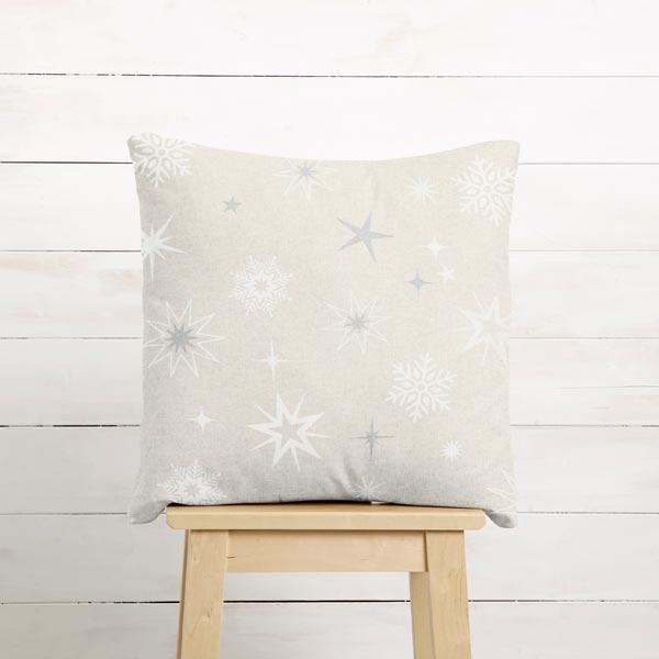 Tissu de décoration Semi-panama Etoiles scintillantes – argent/blanc