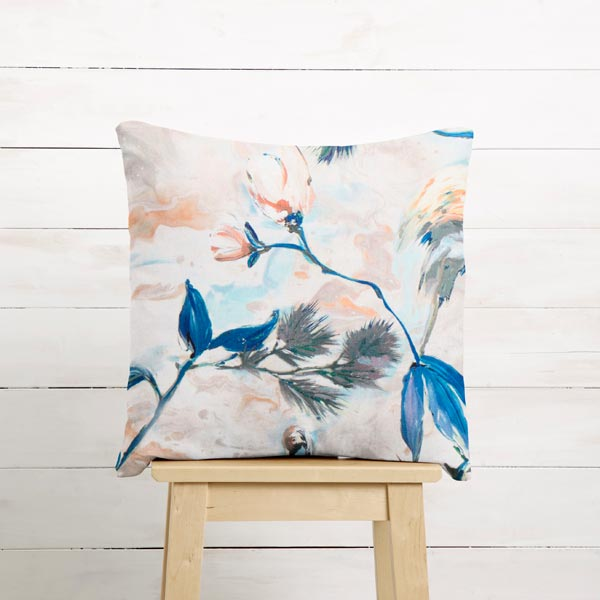 Tissu de décoration Semi-panama Branches – bleu/beige