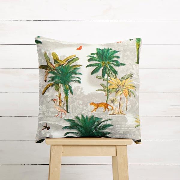 Tissu de décoration Semi-panama Palmiers – gris clair