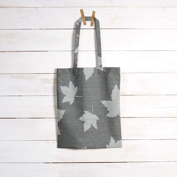 Tissu de décoration Jacquard Plaid feuilles d'érable – gris