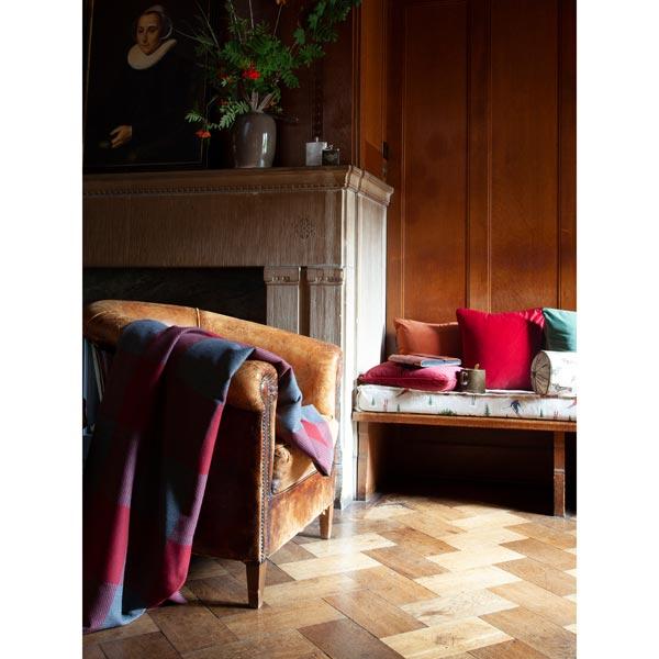 Tissu de décoration Jacquard Plaid Vichy – carmin/gris