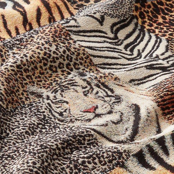 Tissu de décoration Gobelin Motif léopard – beige/noir