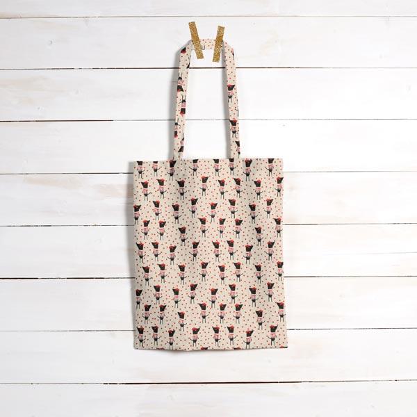 Tissu de décoration Semi-panama Petit chien coquet – rouge