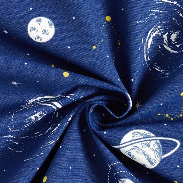 Dekostoff Canvas Planetarium Glow in the Dark – marineblau