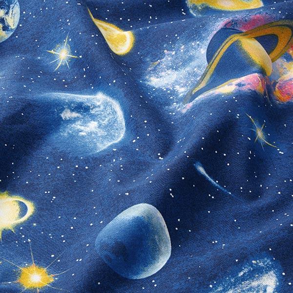 Dekostoff Canvas große Planeten   – marineblau
