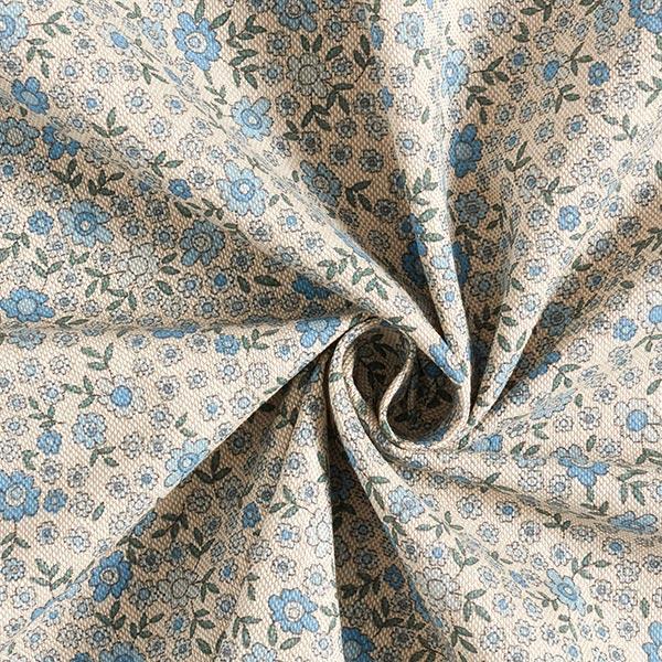 Dekostoff Halbpanama Streublumen   – natur/hellblau