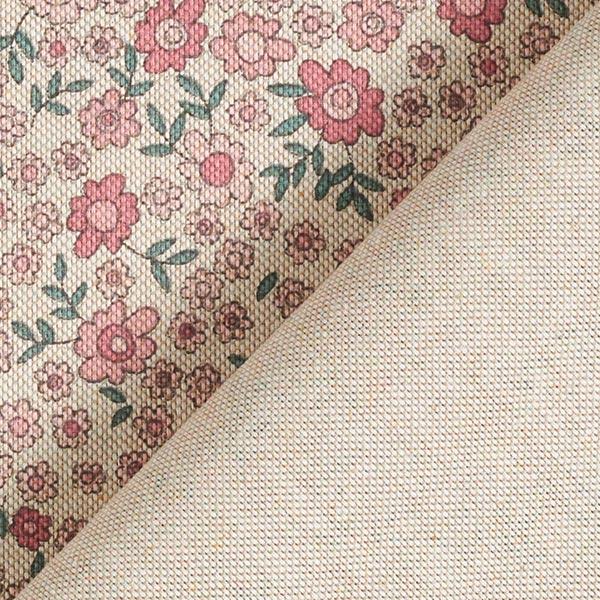 Tissu de décoration Semi-panama Millefleurs – nature/vieux rose