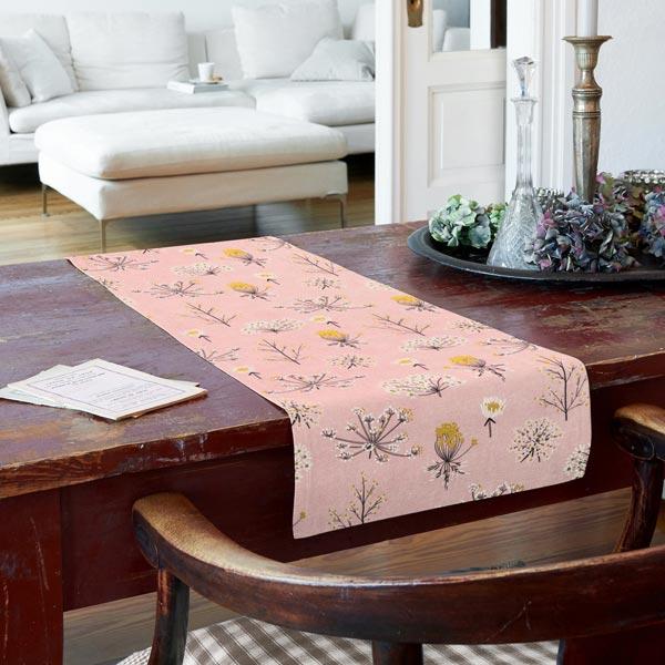 Tissu de décoration Canvas Fleurs séchées – rose/blanc