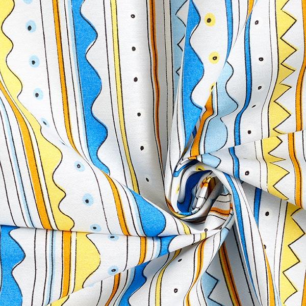 Dekostoff Canvas Streifen – königsblau/gelb