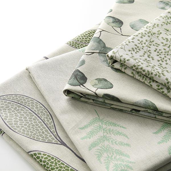 Tissu de décoration Semi-panama Fougère – nature/vert