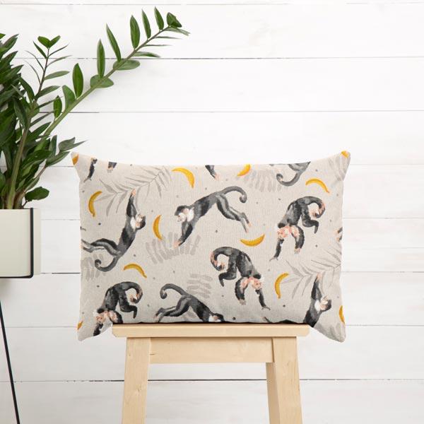 Tissu de décoration Semi-panama Singes – nature/gris