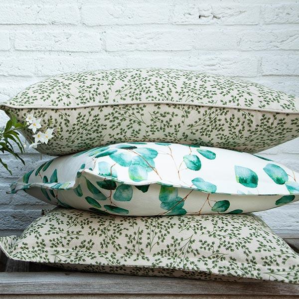 Dekostoff Halbpanama Eukalyptus – natur/mintgrün