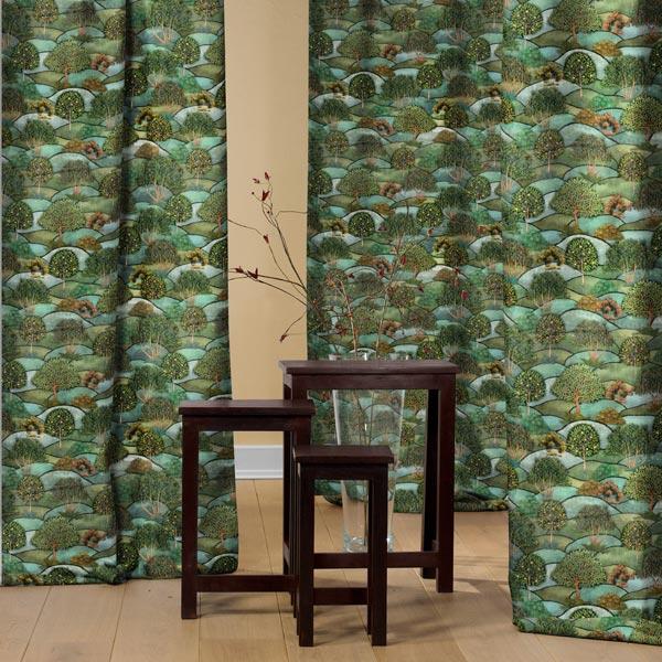 Tissu de décoration Velours Paysage – vert foncé/pétrole