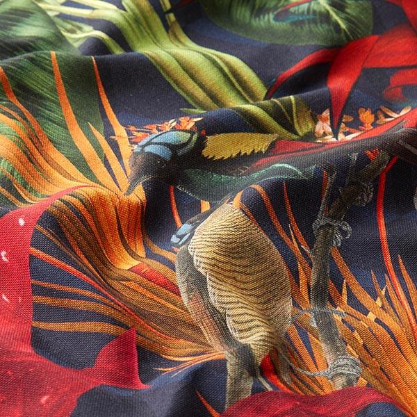 Dekostoff Halbpanama Digitaldruck Exotik – dunkelgrün