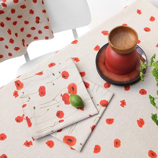 Tissu de décoration Semi-panama Pavot grand – carmin/nature