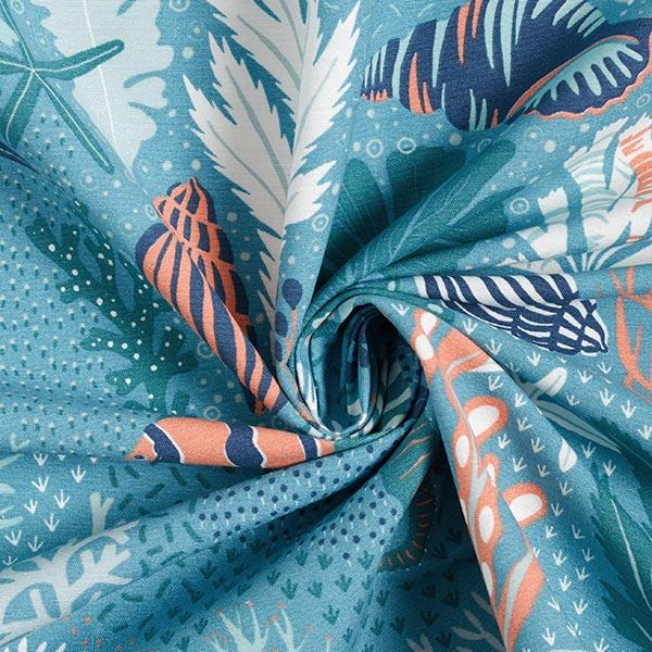 Tissu de décoration Canvas Monde sous-marin – turquoise/pétrole